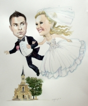 Ewelina and Lukasz Watercolour Wedding Caricature