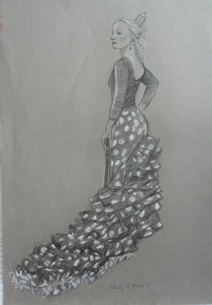 Flamenco dancer, wax pencil and chalk on pastel paper
