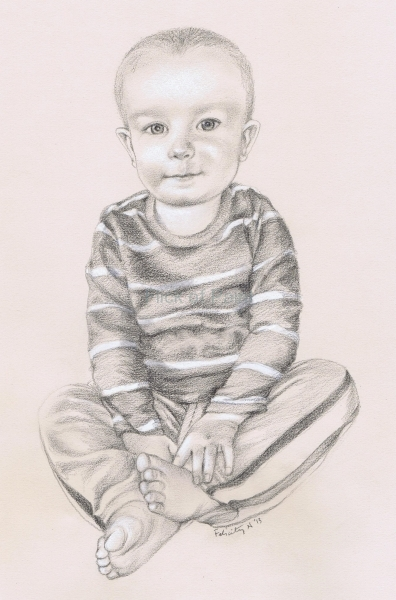 Portrait of Bettys grandson Finlay, conte pastel on pastel paper.
