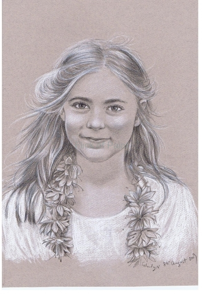 fergus' other niece, wax pencil and chalk on pastel paper